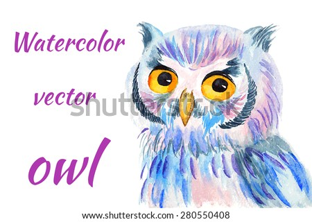 Bright colorful watercolor vector illustration of an owl - stock vector