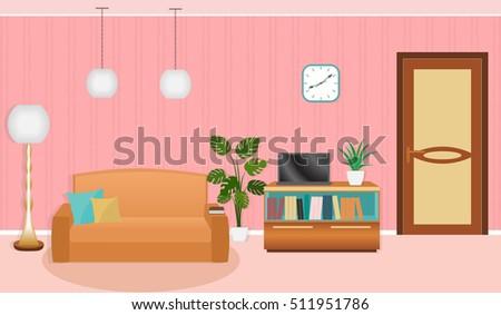 Bright Colors Living Room Interior Furniture Stock Vector (2018 ...
