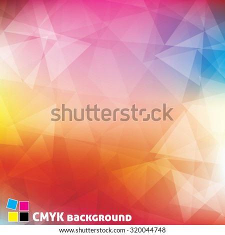Bright colors pattern textured by triangles. Colorful vector background. CMYK color mode - stock vector