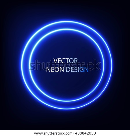 Bright colors shining neon circle lights. Vector blue round frame.  - stock vector