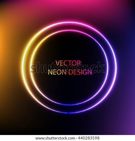 Bright colors shining neon circle lights. Vector shining round frame. Circle colorful neon banner.   - stock vector