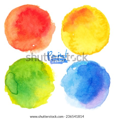 Bright colors watercolor painted vector stains set - stock vector