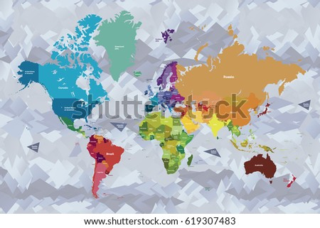 Bright colors world map country names stock vector 619307483 bright colors world map with country names in english gumiabroncs Gallery