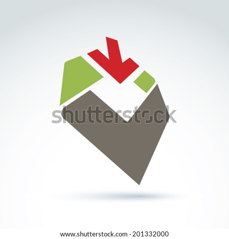 Bright complex geometric corporate element created from separate parts. 3d abstract emblem with red down arrow and a checkmark. - stock vector