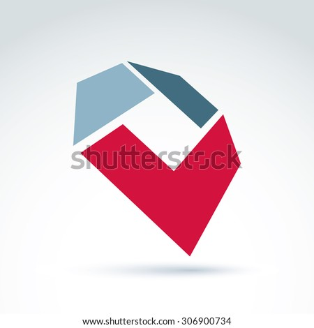 Bright complex geometric element created from separate parts. 3d abstract emblem with red checkmark. - stock vector
