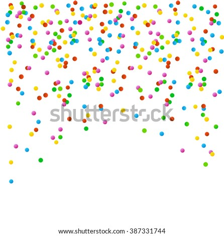 Bright confetti on a white background. A festive mood. Background confetti.  vector isolated confetti on party