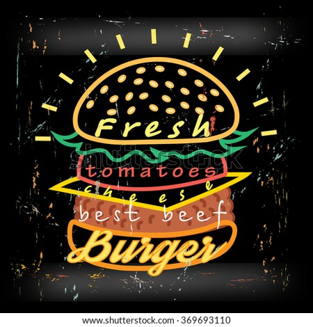 Bright cover for fast food menu - hamburger on a bllack background - stock vector