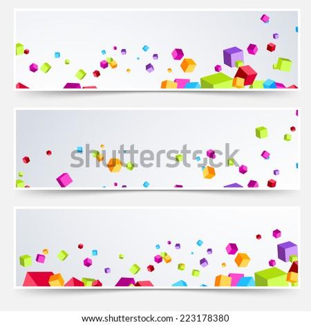 Bright cube web header footer set. Vector illustration - stock vector