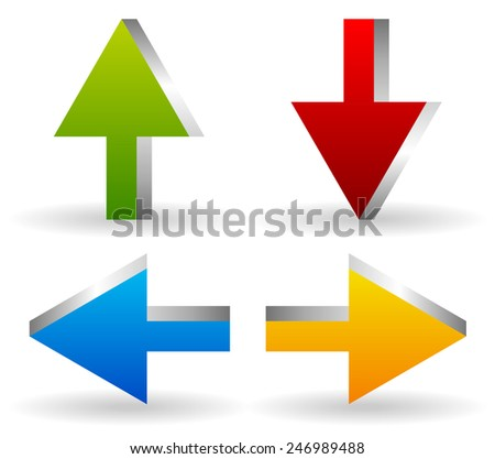 Bright 3d Arrows Up, Down, Left and Right in Green, red, blue and yellow - stock vector