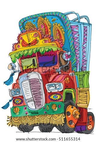 bright decorated indian truck painted with traditional patterns - cartoon