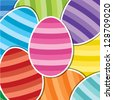 Bright Easter egg sticker background in vector format. - stock vector