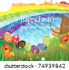 Bright Easter eggs rolled out of the overturned basket. Rainbow Easter landscape - stock vector
