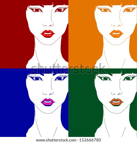 Bright elegant creative original pop art glamor fashion girl - stock vector