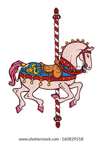Bright elegant smart carousel horse vector - stock vector