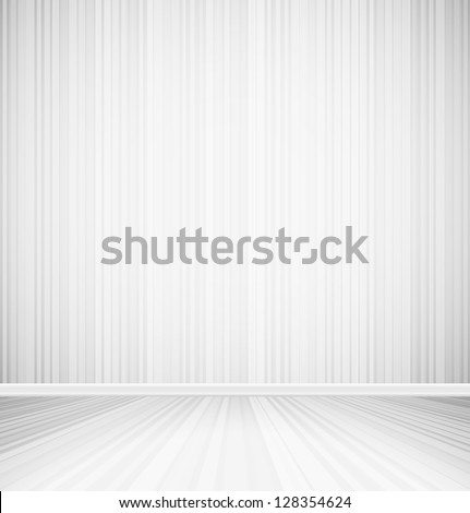 Bright empty room with striped wall and striped floor interior. Vector illustration - stock vector
