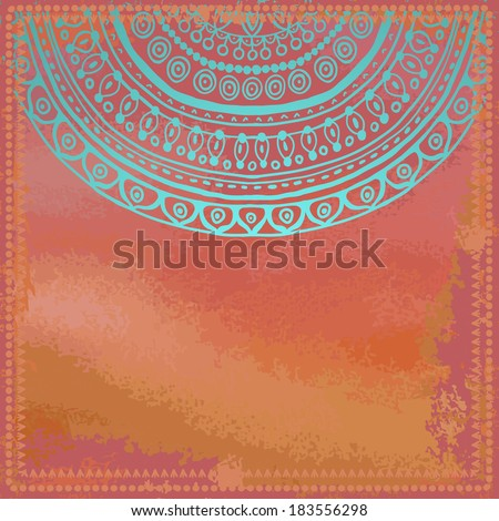 Bright ethnic card . Grunge coral red watercolor background with turquoise pattern. All objects are conveniently grouped on different layers and are easily editable. - stock vector