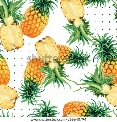 bright exotic pineaple on a white background - stock vector