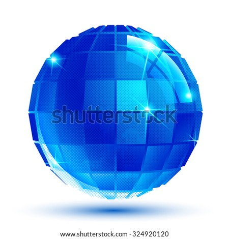 Bright facet dimensional sparkle eps10 spherical object isolated on white background.