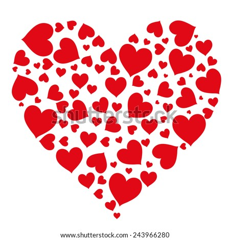 Bright festive pattern of hearts on a white background. Romantic card for Valentine's Day, greeting a loved one, to the wedding. Isolated object, vector - stock vector