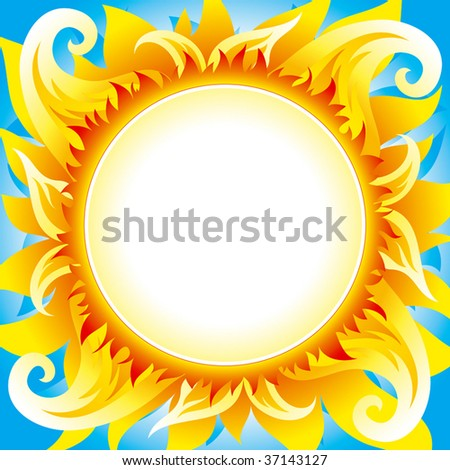 Bright fiery sun background - stock vector