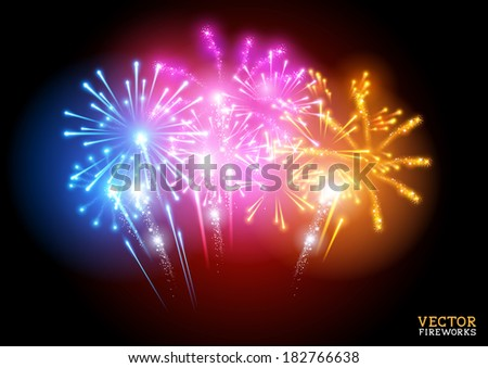 Bright Fireworks Display Vector illustration. - stock vector