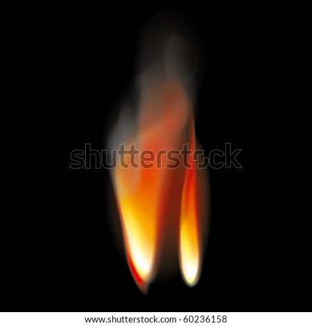 Bright Flame Tongues with Smoke. Transparent. Vector Illustration