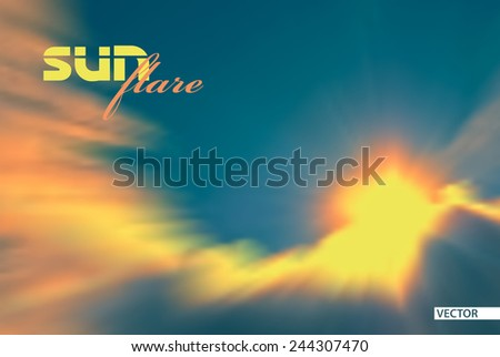 Bright flare of sun, quickly hiding behind the clouds. Vector - stock vector