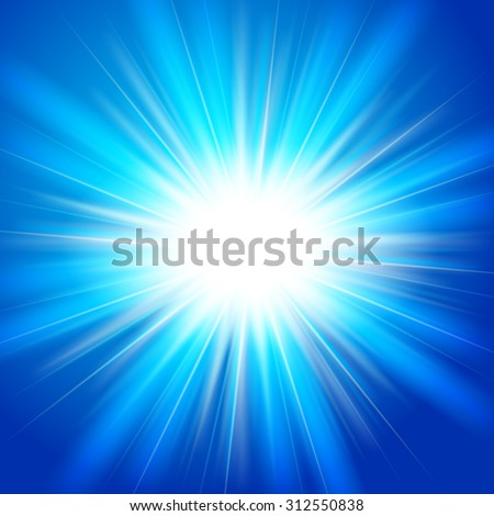 Bright flash, explosion or burst on the blue background. Vector illustration.