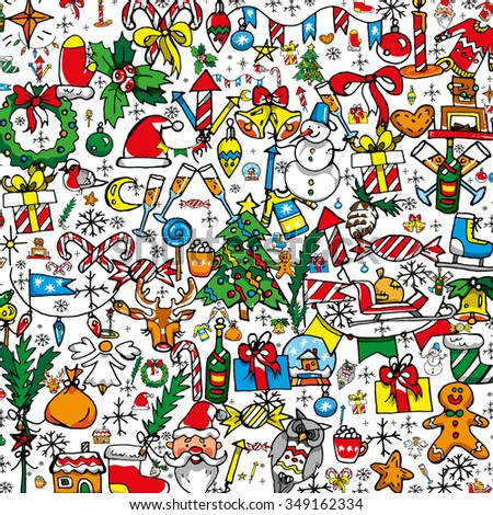 Bright flat cartoon style Christmas doodles background for a Merry Christmas and Happy New Year. Freehand, hand drawn doodle elements like: Christmas tree, deer, Santa Claus, presents in composition - stock vector