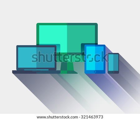 Bright flat devices mock up with computer, monitor, laptop, tablet, mobile phone