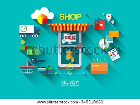 Bright flat vector design concept composition with icons of shop,retail commerce and marketing elements: delivery, care, box, money, presents, shop doors,truck products, cloud, and a list of orders.