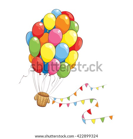 Bright flight/Hot Air Balloon of colored children's balloon. The illustration on the theme bright impressions and fantasy.  - stock vector