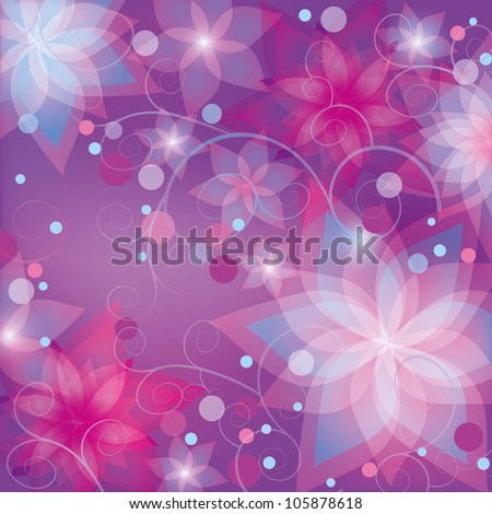 Bright floral abstract background. Purple flowers lilies, decorated circles and swirls . Invitation or greeting card in retro or grunge style. Place for text, vector illustration - stock vector