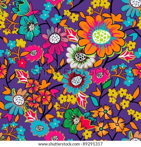 Bright floral pattern - stock vector