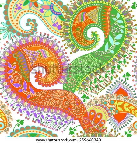 Bright floral pattern. Paisley ornamental background - stock vector