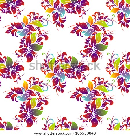 Bright floral seamless on white background