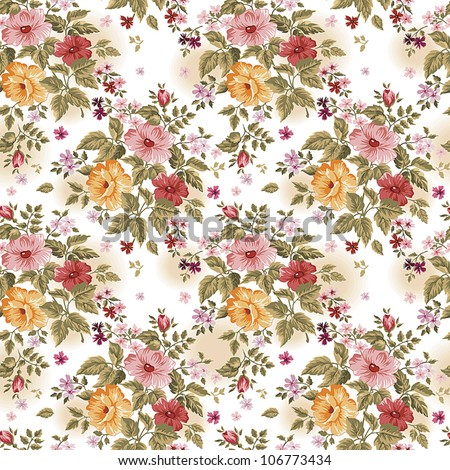 Bright floral Seamless on white background with plant motifs, fashion seamless pattern in a retro style. Beautiful vector illustration texture. - stock vector
