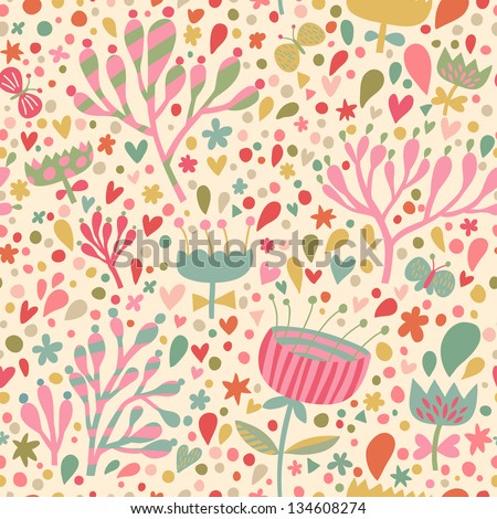 Bright floral seamless pattern. Seamless pattern can be used for wallpaper, pattern fills, web page backgrounds, surface textures. Gorgeous seamless floral background - stock vector