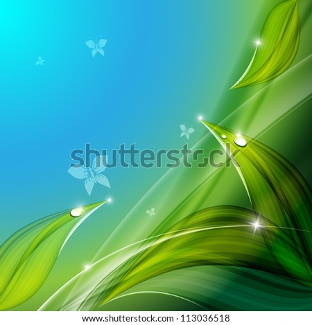 bright floral vector background with butterflies. Eps10 - stock vector