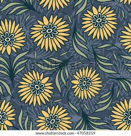 bright flowers in floral pattern - stock vector