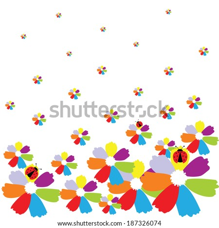 Bright flowers with ladybird on a white background - stock vector
