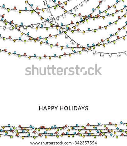 Bright garlands. A background with bright garlands. New Year's design. Christmas bulb. Brochure of design, card, leaflet. Festive magic background. Brilliant garlands. Ornament for festive design - stock vector