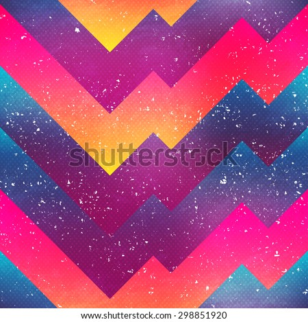 bright geometric seamless pattern with grunge effect - stock vector