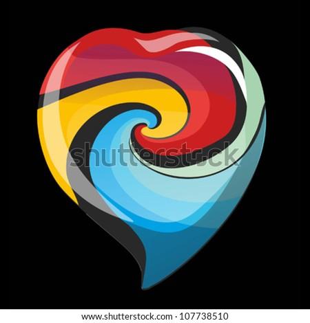 Bright glass vector heart - stock vector