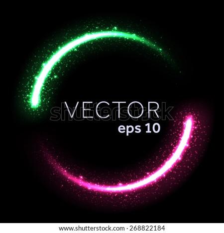 Bright glittering star dust lights circle - stock vector