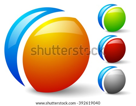 Bright, glossy generic circle icons, logos. 4 colors included, colors can be easily changed - stock vector