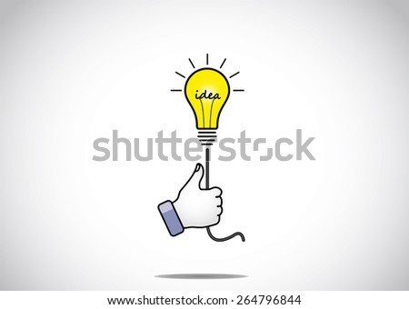 bright glowing yellow idea solution light bulb held by young human victory winning thumbs up hand gesture - the winning solution concept illustration artwork - stock vector