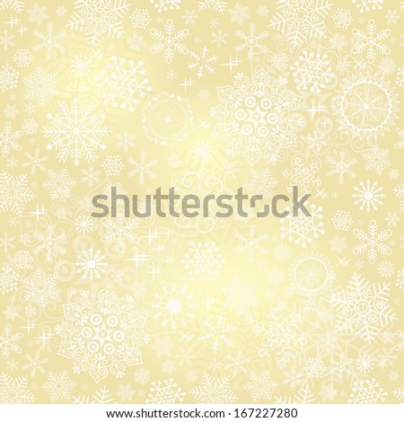 Bright golden seamless pattern with delicate lace translucent snowflakes (vector eps 10) - stock vector