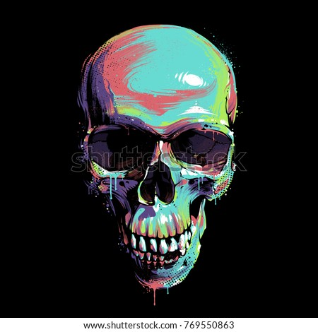 Bright graffiti illustration of skull on black background. Dirty paint art of skull. Skull