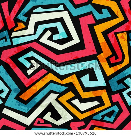 bright graffiti seamless pattern with grunge effect - stock vector